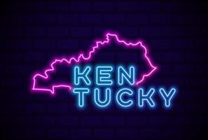 kentucky, estados unidos, resplandeciente, lámpara de neón, señal, realista, vector, ilustración, azul, pared de ladrillo, resplandor vector