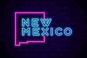 nuevo mexico estado de los estados unidos lámpara de neón resplandeciente letrero realista ilustración vectorial pared de ladrillo azul resplandor vector