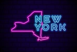 nueva york estados unidos lámpara de neón resplandeciente letrero ilustración vectorial realista pared de ladrillo azul resplandor vector