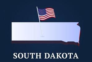 south dakota state Isometric map and USA national flag 3D isometric shape of us state Vector Illustration