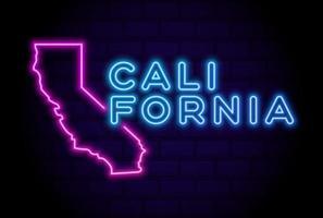 california, estados unidos, resplandeciente, lámpara de neón, señal, realista, vector, ilustración, azul, pared de ladrillo, resplandor vector