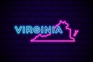 estado de virginia estados unidos lámpara de neón brillante letrero ilustración vectorial realista pared de ladrillo azul resplandor vector