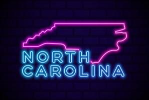 north carolina US state glowing neon lamp sign Realistic vector illustration Blue brick wall glow