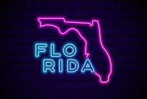 florida US state glowing neon lamp sign Realistic vector illustration Blue brick wall glow