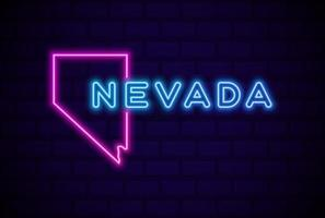 nevada US state glowing neon lamp sign Realistic vector illustration Blue brick wall glow