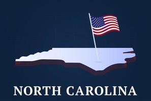 north carolina state Isometric map and USA national flag 3D isometric shape of us state Vector Illustration