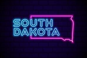 dakota del sur estados unidos lámpara de neón resplandeciente letrero ilustración vectorial realista pared de ladrillo azul vector