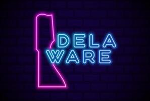 Delaware estado de EE. UU. resplandeciente lámpara de neón signo ilustración vectorial realista pared de ladrillo azul resplandor vector