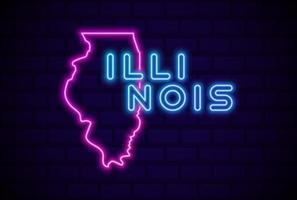 illinois, estado de los estados unidos, lámpara de neón brillante, señal, realista, vector, ilustración, azul, pared de ladrillo, resplandor vector