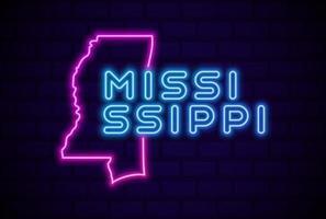 Mississippi, estado de EE. UU., lámpara de neón brillante, letrero, ilustración vectorial realista, pared de ladrillo azul vector