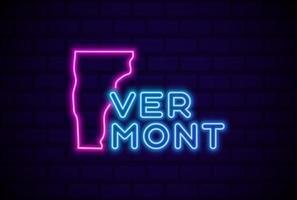 Vermont, estado de EE. UU., lámpara de neón brillante, signo, ilustración vectorial realista, pared de ladrillo azul, resplandor vector