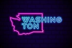 washington, estados unidos, resplandeciente, lámpara de neón, señal, realista, vector, ilustración, azul, pared de ladrillo, resplandor vector