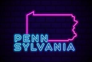 pennsylvania estado de los estados unidos resplandeciente lámpara de neón letrero realista vector ilustración azul pared de ladrillo resplandor