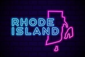 rhode island estados unidos lámpara de neón brillante letrero ilustración vectorial realista pared de ladrillo azul resplandor vector