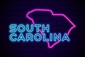 carolina del sur, estados unidos, brillante, neón, lámpara, señal, realista, vector, ilustración, azul, pared de ladrillo, resplandor vector