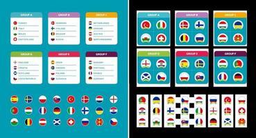 grupo de fútbol europeo establece banderas de países y grupos de equipos de fútbol europeo 2020 en el conjunto de vectores de fondo del torneo