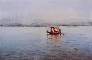 barcos de pesca de acuarela en el agua en el mar con hermoso cielo azul dibujado a mano ilustración vector
