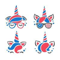 Unicorn wears glasses and accessories with American flag pattern isolate on white background vector