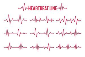 Heartbeat graph vector set Concept of helping patients and exercising for health