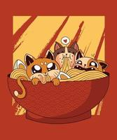Ramen Cats Japanese food noodles perfect for tshirts vector