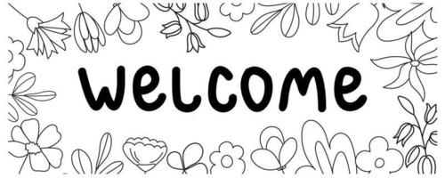Welcome lettering banner vector