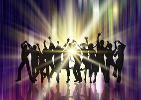 silhouette of a party crowd on starburst background vector