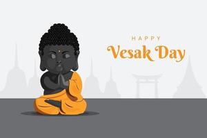 Baby monk meditation pose happy vesak day vector