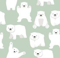 Cute Polar bear funny seamless pattern vector