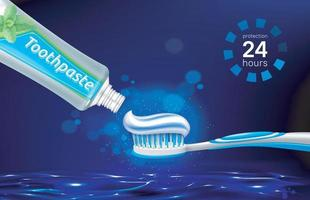 Toothpaste brush dental floss and tooth on glowing water surface at nighttime Brand poster with dental care product Vector EPS 10