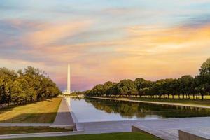 Washington monument reflected on the reflecting pool photo