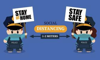 Social distancing concept with cute police characters vector