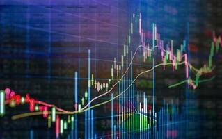 combinación de gráficos de gráfico de mercado de valores y gráficos financieros foto