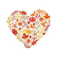 Vector autumn elements made in heart. Mushroom, acorn, maple leaves and pumpkin isolated on white background. Perfect for seasonal holidays, Thanksgiving Day