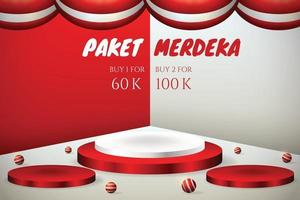 Podium display 3d for Indonesia independence day 17th August with flag red and white vector