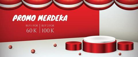 podium display 3d for Indonesia independence day 17th August banner page vector