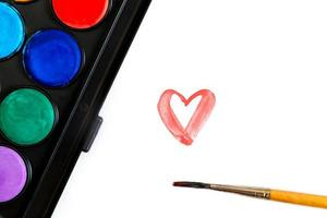 Brush and watercolor paints for drawing photo