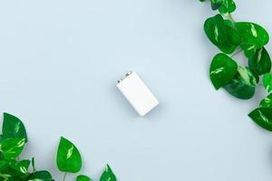 Ilustración de energía ecológica o energía verde con una batería blanca y hojas de ramitas sobre un fondo claro foto