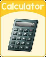 Educational English word card of calculator vector