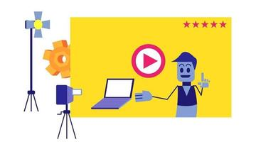 Creative design video tutorial for landing pages vector