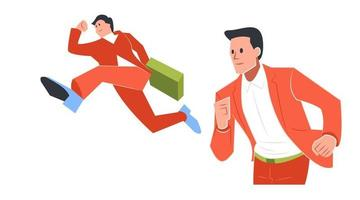 illustration of a businessman pose run towards the target vector