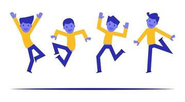 Group of young joyful jumping and dancing people with raised hands vector