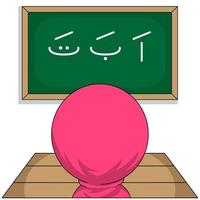 personajes de dibujos animados femeninos musulmanes chibi vector