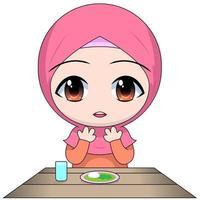 personaje de mujer musulmana chibi de dibujos animados vector