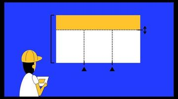vector illustration of someone laying out a layout with precision lines