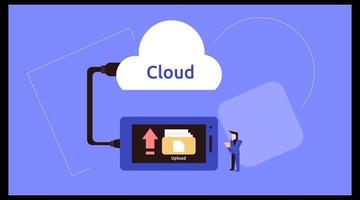 landing page with the title cloud storage and computing vector