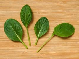 Komatsuna Sharaku salad leaves on a wooden board photo