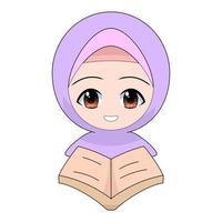 Cartoon Muslim girl reading a book or the Quran vector