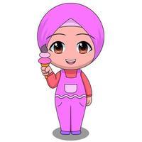 Cartoon Muslim girl eating ice cream vector