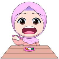 Cartoon Muslim girl eating with a spoon vector
