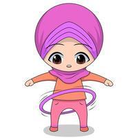 Cartoon Muslim girl with hula hoop vector